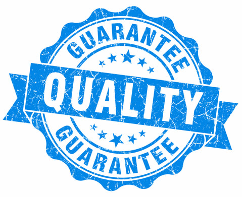 Blue and white icon of quality guarantee